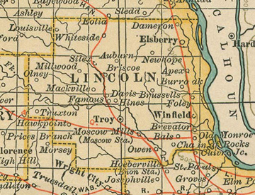 Early map of Lincoln County, Missouri including Troy, Elsberry, Winfield, Truxton, Chain of Rocks, Moscow Mills