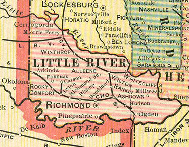 Early map of Little River County Arkansas including Ashdown, Richmond, Foreman, Winthrop, Alleene, Wilton, Arkinda, Ogden, Arden, Cerrogordo, Hudson, Millwood, White Cliffs, Cerrogordo