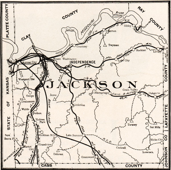 Jackson County Missouri 1904 Historical Map Reprint Roads