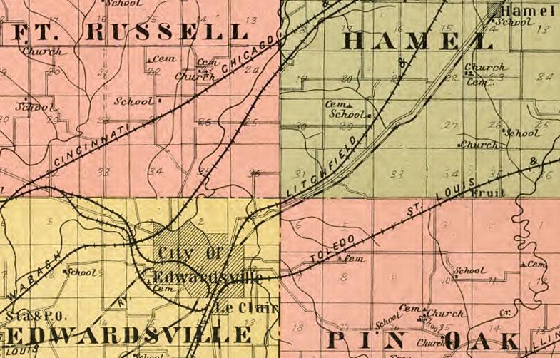 Madison County Illinois 1906 Historic Map Reprint