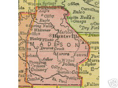Early map of Madison County, Arkansas including Huntsville, St. Paul, Clifty, Kingston, Pettigrew, Wesley, Whitener