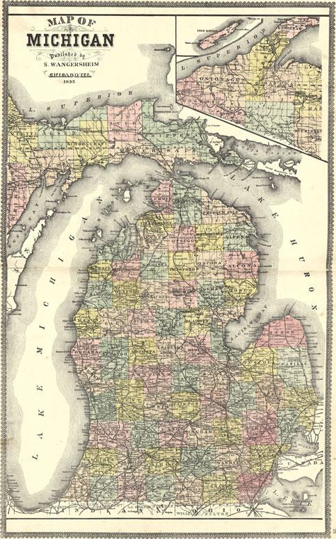 Michigan State 1895 S Wangersheim Historic Map Reprint