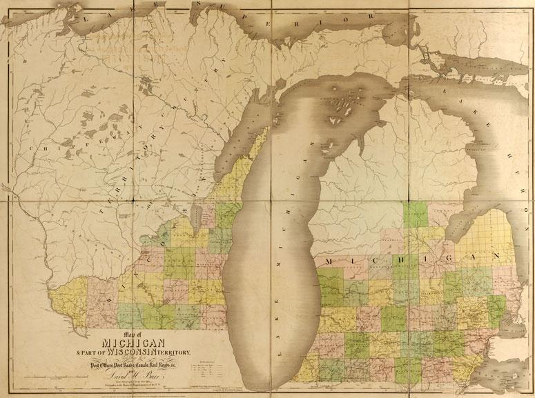 Michigan State And Wisconsin Territory Historic Map David Burr - Map of wisconsin and michigan