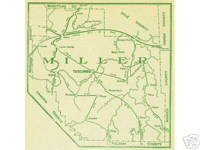 Early map Miller County, Missouri including Tuscumbia, Eldon, Bagnell, Iberia, Ulman, Etterville