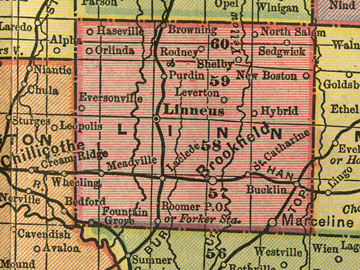 Early map of Linn County, Missouri with Brookfield, Linneus, Marceline, Laclede, Meadsville, Browning, Bucklin, Eversonville, Fountain Grove, New Boston, Purdin, St. Catharine