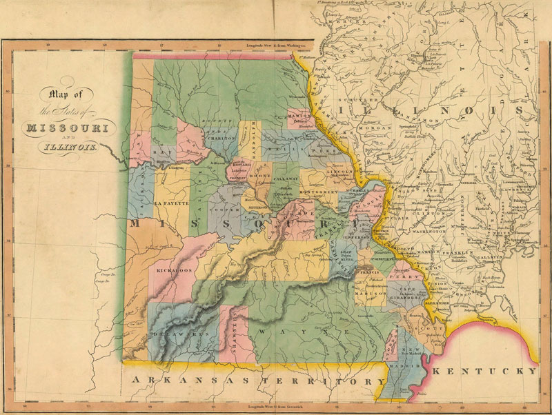 Missouri and Illinois 1832 Historic Map by Hinton Reprint