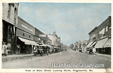 Early postcard view of Higginsville, Missouri Main Street Lafayette County, MO