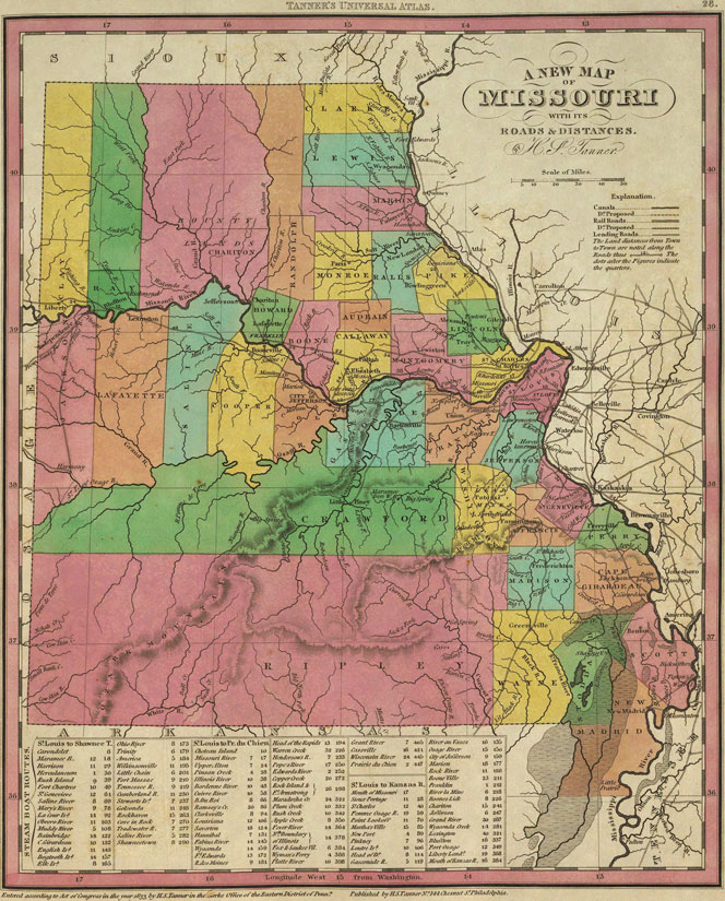 Lincoln County Divorce Records: Missouri State 1833 Historic Map By H. S. Tanner, Reprint