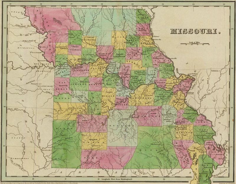 Missouri State 1841 Historic Map by Thomas G. Bradford, Reprint