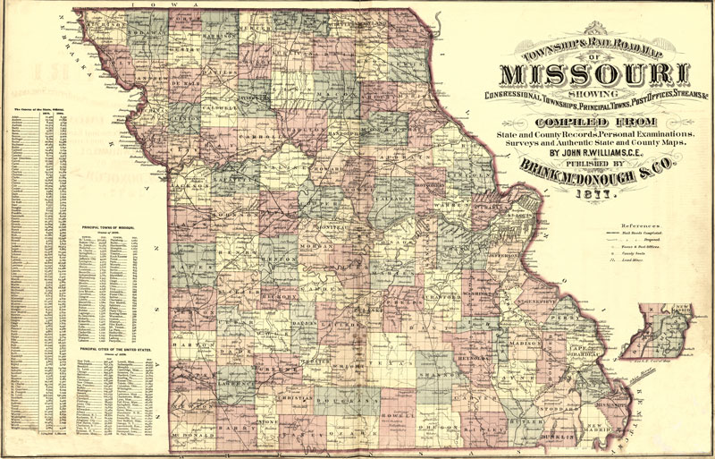 Missouri State Historic Map By Brink McDonough Reprint - Mo state map