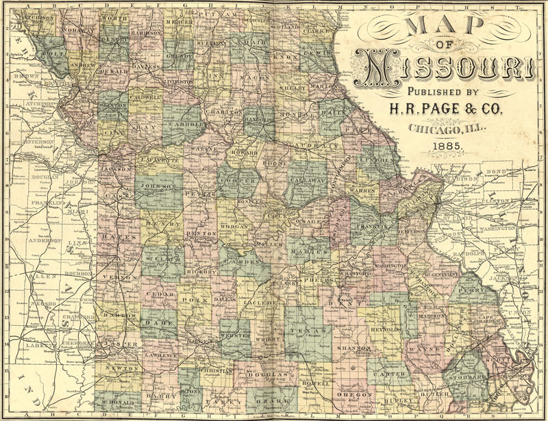 Missouri State H R Page Historic Map Reprint - Map of missouri state