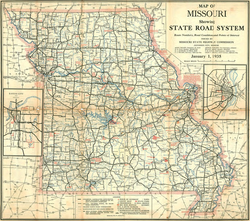 Missouri State Highway Road Historic Map Reprint By - Missouri road map