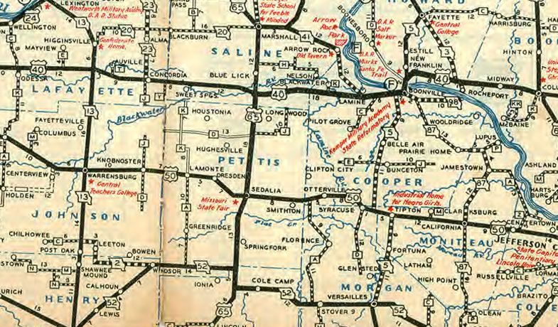 Missouri State Highway Road 1935 Historic Map Reprint by Missouri