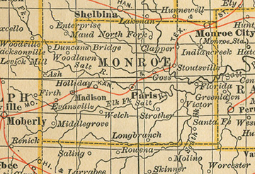Early map of Monroe County, Missouri including Paris, Monroe City, Madison, Holliday, Santa Fe, Florida, Indian Creek, Strother, North Fork, Duncans Bridge, Woodlawn