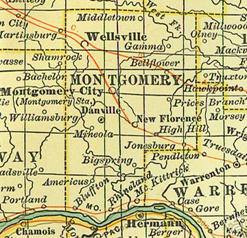Montgomery County Missouri Genealogy History Maps With Montgomery