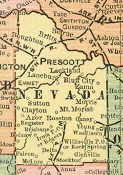 Nevada County, Arkansas Genealogy, History, maps with