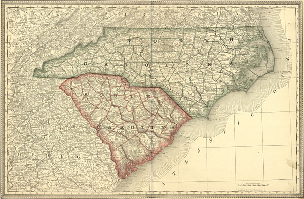 North Carolina And South Carolina State 1881 Rand Mcnally Historic