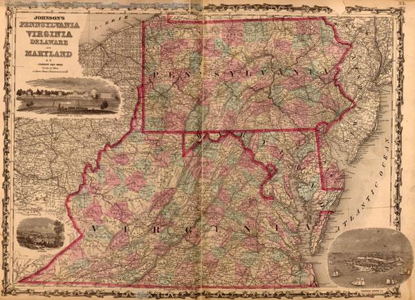 Pennsylvania Virginia Map.Pennsylvania Virginia Delaware And Maryland 1862 Johnson Ward