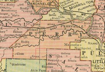Early map of Perry County, Arkansas including Perryville, Adona, Casa, Alpin, Dixie, Houston, Hollis, Nimrod