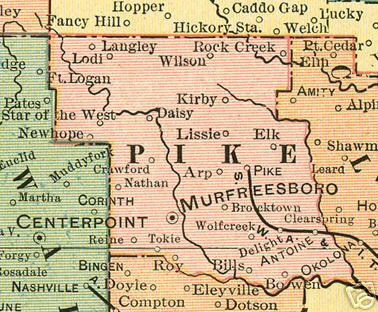 Early map of Pike County, Arkansas including Murfreesboro, New Hope, Star of the West, Pike, Wolf Creek