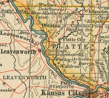 Early map of Platte County, Missouri including Platte City, Weston, Parkville, Waldron, Camden Point, Edgerton, Farley