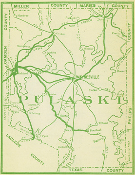 Early map of Pulaski County, Missouri including Waynesville, Dixon, Crocker, Richland, Swedeborg, Laquey, Bailey