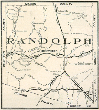 Early map of Randolph County, Missouri with Moberly, Huntsville, Cairo, Clark, Clifton Hill, Darksville, Higbee, Jacksonville, Milton, Mount Airy, Renick, Rolling Home, Thomas Hill
