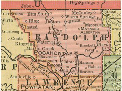 Randolph County Arkansas Genealogy, History, maps with Dalton, Elm