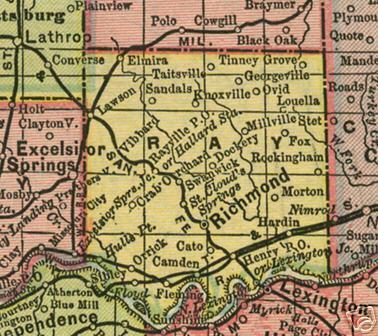 Ray County Missouri Genealogy History Maps With Richmond Hardin