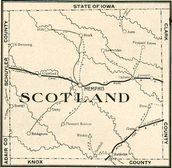 Early map of Scotland County, Missouri with Memphis, Gorin, South Gorin, Rutledge, Granger, Sand Hill, Bible Grove, Kilwinning