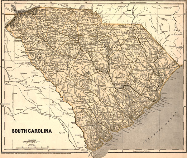 South Carolina State 1843 Morse Breese Historic Map Reprint