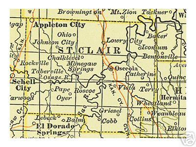 Early map of St. Clair County, Missouri including Osceola, Appleton City, Lowry City, Monegaw Springs, Roscoe