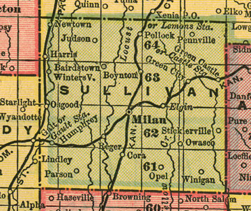 Early map of Sullivan County, Missouri with Milan, Green City, Green Castle, Humphreys, Harris, Pollock, Osgood, Newtown, Reger, Winigan