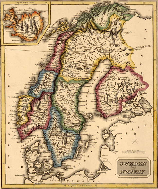 Sweden And Norway 1817 Fielding Lucas Historic Map Reprint