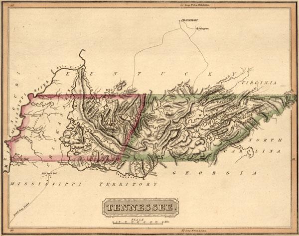 Tennessee 1817 Fielding Lucas Historic Map Reprint