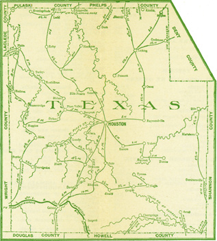 Early map of Texas County, Missouri including Houston, Cabool, Licking, Raymonville, Success, Roby, Plato