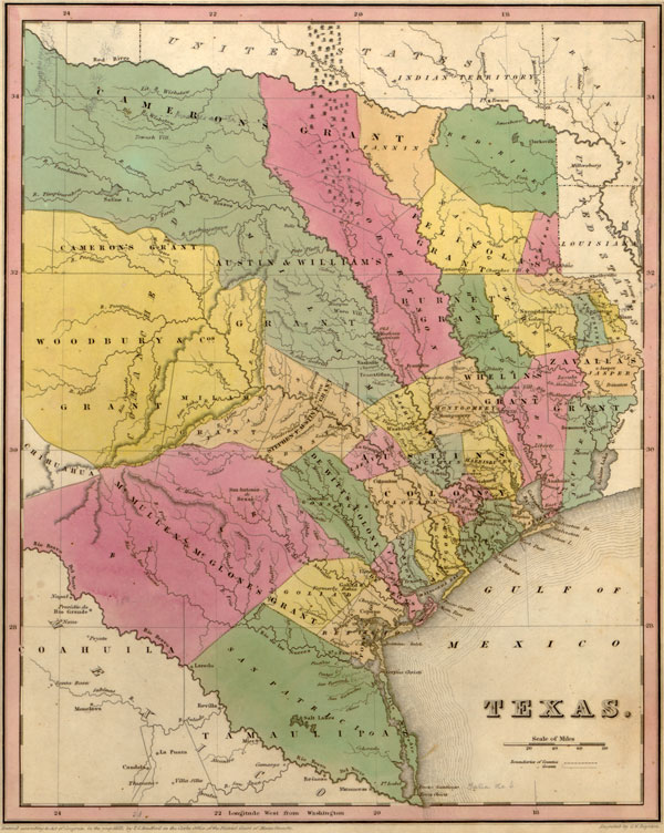 Texas State (Texas Republic) 1833 Historic Map by Tanner, Reprint