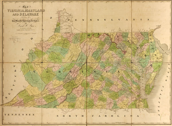 Virginia, Maryland and Delaware State 1839 Historic Map David Burr ...