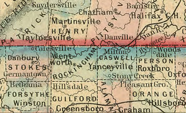 Virginia and North Carolina State 1860 Mitchell Historic Map Reprint