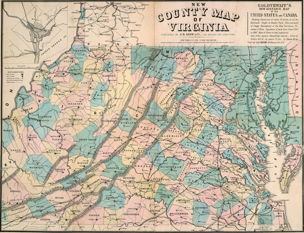 Virginia State Snow Colton Historic Map Reprint - State map of virginia
