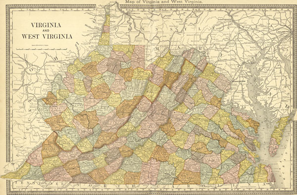 Map Of Virginia And West Virginia Together.Virginia And West Virginia State 1881 Rand Mcnally Historic Map Reprint