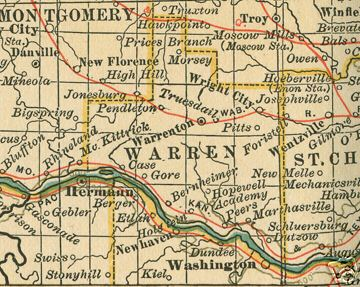 Warren County Missouri Genealogy, History, maps with ... on greenup county ky map, confluence of mississippi and arkansas map, mississippi territory map, tennessee fall creek falls map, early tenn river maps,