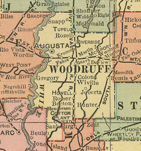 Early map of Woodruff County, Arkansas including Augusta, DeView, Gray's Station, Howell Station, McCrory, Riverside, Cotton Plant, Patterson, Hunter, History, Genealogy