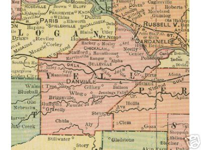 Yell County Arkansas Genealogy, History, maps with Belleville ...