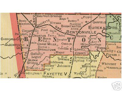 Early map of Benton County, Arkansas including Rogers, Bentonville, Gravette, Sulphur Springs, Siloam Springs