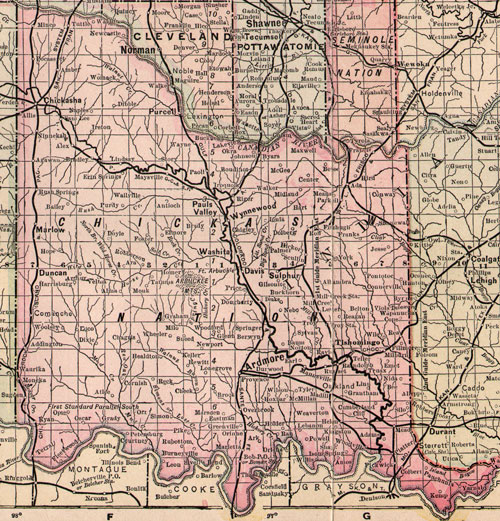 Chickasaw Nation Indian Territory 1903 1905 Map Reprint