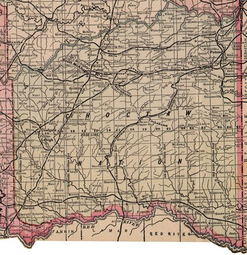 Choctaw Nation Indian Territory 1903-1905 Map Reprint