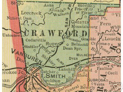 Early map of Crawford County, Arkansas including Van Buren, Rudy, Alma, Chester, Mulberry, Mountainburg, Dyer
