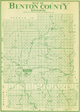 Early map of Benton County, Missouri including Warsaw, Cole Camp, Lincoln, Fristoe, Edwards