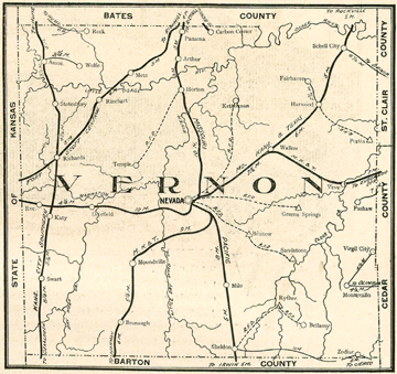 maps of nevada. Early map oh Vernon County,